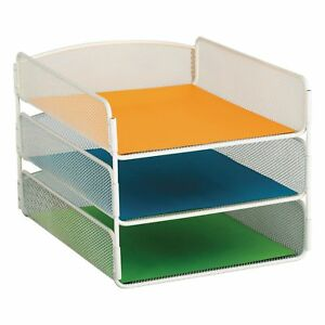 Safco 3 tier Desk Tray Steel Mesh Letter White best Price service In The Us