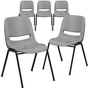 5 Pk Hercules Series 880 Lb Capacity Gray Ergonomic Shell Stack Chair