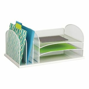 Safco Onyx Mesh Desk Organizer 3 Horizonal And 3 Vertical Sections White
