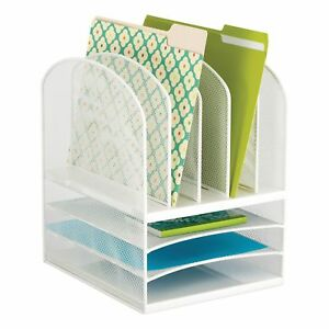Onyx Mesh Desk Organizer 3 Horizontal 5 Vertical Sections White best Price