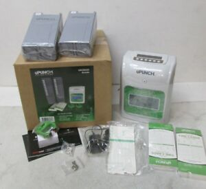 New Upunch Hn3500 Time Clock Bundle With 100 cards And Two 10 slot Card Racks