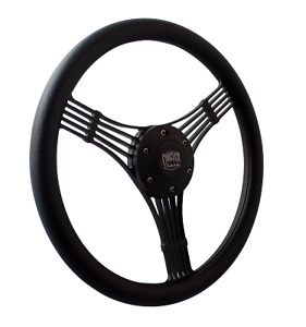 14 Matte Black Discord Banjo Steering Wheel 6 Hole Black Wrap
