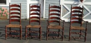 4 Vtg Ladderback Pine Dining Chairs Rush Seats Rustic Farmhouse Pick Up Nj Only