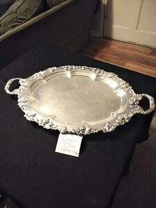Vintage Grape Motif Sheffield Silverplate Large Oval Footed Serving Tray 28x17