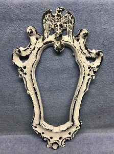 Vintage Cast Iron Hall Tree Topper Mirror Frame W Eagle Nice W Great Patina