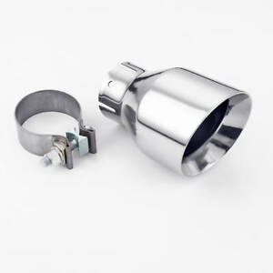 2 5 Inlet Round Exhaust Tip Slant Cut 4 Outlet Stainless Steel With Clamp