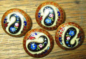 Set 4 Antique Buttons Gorgeous French Champleve Enamel Paisley Design 3 4