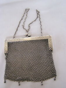 Sterling Silver Link Mesh Purse Made By J T Inman Co Attleboro Massachusetts