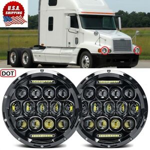 2x 85w 7inch Round Black Cree Led Headlight Hi lo Beam For Freightliner Century