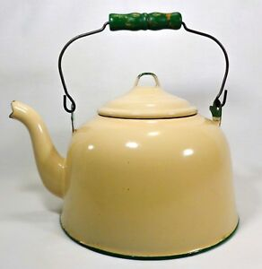 Antique Primitive Farmhouse Beige Enamel Lg Kettle W Green Wood Wire Handle