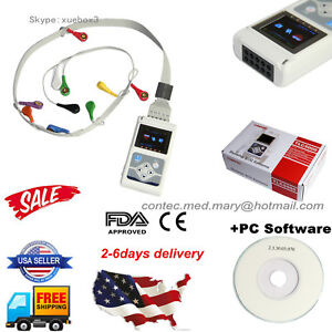 Us 24h Dynamic Ecg Holter System 12 Channel Ecg ekg Holter Recorder software new