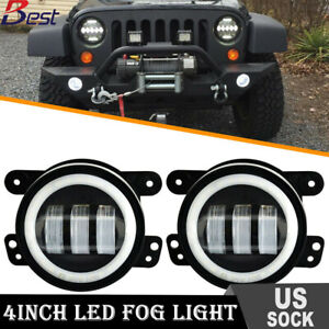 Pair 60w 4 Inch Led Fog Lights For Jeep Wrangler Lj Jk Tj Cj Bumper Tractor
