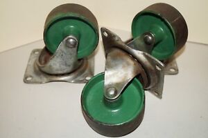 Set Of 3 Antique Vintage Faultless Noelting 3 Swivel Plate Steel Casters Wheels