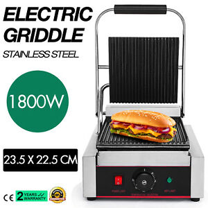 Commercial Electric Contact Press Grill Griddle Stainless Steel Bbq 110v 1800w