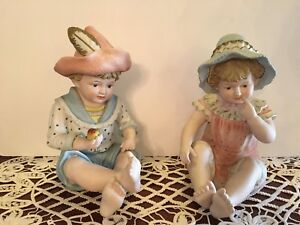 Vintage Large Piano Babies Boy Girl Bisque Porcelain Figurines Numbered 6161