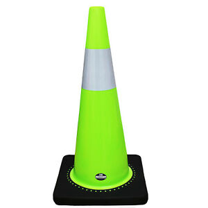 Rk Safety 28 Lime Traffic Pvc Cones W With 6 Reflective Collar Black Base
