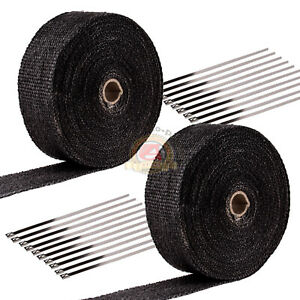 2 Roll X 2 50ft Black Fiberglass Exhaust Header Pipe Heat Wrap Tape 20 Ties Kit
