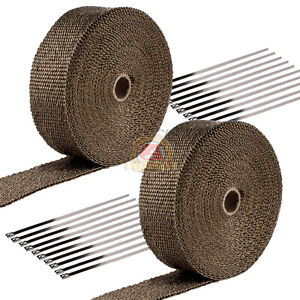 2 Roll X 2 Titanium 50ft Exhaust Header Basalt Fiber Heat Wrap Tape 20 Ties Kit