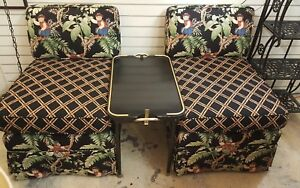 Vintage Mcm Slipper Chairs Pair Palm Beach Tropical Bali Upholstered Free Ship
