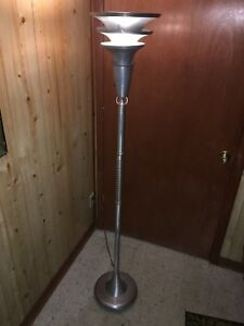 Vtg Mcm Art Deco Machine Age Chrome Glass Ball Stem Torchiere Floor Lamp Rohde