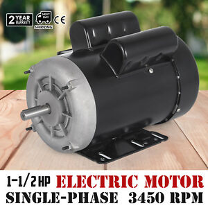 Electric Motor 1 1 2 Hp Single phase 3450rpm Tefc 5 8 Shaft General 60 Hz
