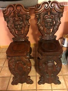 Stunning Gothic Antique Carved Chairs Amazing Details