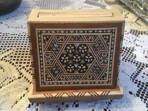 Vintage Wood Box With Beautiful Inlay Moroccan Or Middle Eastern Neat Item