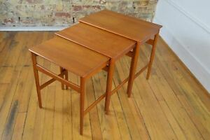 Hans Wegner For Andreas Tuck Danish Mid Century Modern Teak Nesting Tables