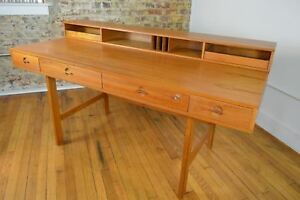 Lovig Danish Mid Century Modern Teak Flip Top Executive Desk