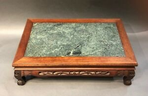 Japanese Antique Hardwood Stand With Marble