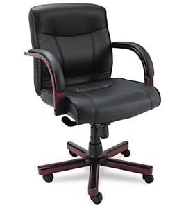 Alera Madaris Series High back Knee Tilt Leather Chair Black mahogany