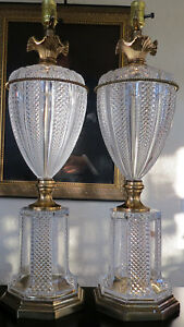Vntg Pair Monumental Table Lamps Tall Hollywood Regency West Germany Crystal 27