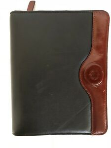 Franklin Covey Classic Two tone Full Grain Leather Calf Skin Trim 7 Ring Binder