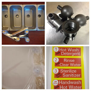 4 Standard Compartment Concession Sink Set W drain Traps 3 1 Hand Washing