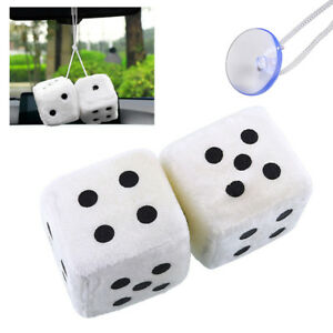 White Plush Dice Rear View Mirror Car Pendant Charms Ornaments Hanging Decors
