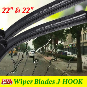 22 22 Premium Hybrid Silicone Windshield Wiper Blades High Quality J Hook