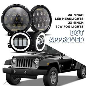 7 round 75w Led Headlight 4 30w Led Fog Light Hid Drl Fits Wrangler Jk 4pcs