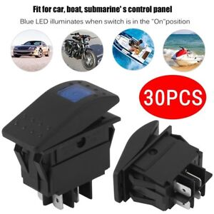 30pcs 12v 4pin On off Blue Led Waterproof Marine Boat Car Rocker Toggle Switch V