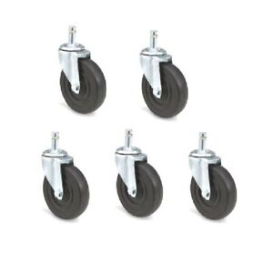 Pack Of 5 Swivel Casters W 4 Hard Rubber Wheels And 7 16 Grip Ring Stems