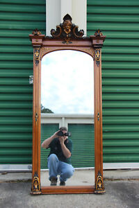 Fabulous Walnut Victorian Pier Mirror With Ansonia Head Crown Ca 1870