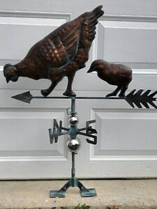 Chicken Weathervane Copper Finish Chic Weather Vane Not Rooster Hand Crafted