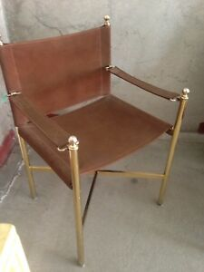 Mid Century Campaign Directors Style Chair Suede And Brass Metal