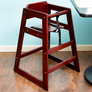 Mahogany Finish Stacking Restaurant Wooden High Chair