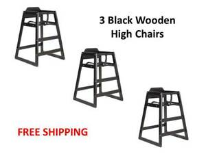 3 pack Black Stacking Restaurant Wooden High Chairs