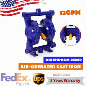 Air operated Double Diaphragm Pump Blue Cast Iron 1 2 Inch Inlet