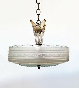 Vintage 40 S Pressed Glass Fountain Chandelier Ceiling Light Shade Too Pretty