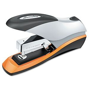 Optima Desktop Staplers Half Strip 70 sheet Capacity Silver black orange