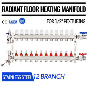 12 Branch 1 2 Pex Radiant Floor Heating Manifold Set Safe Stainless Tested