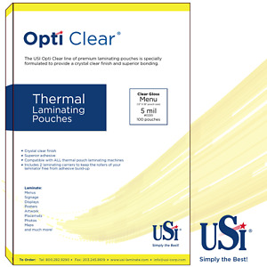 Opti Clear Thermal hot Laminating Pouches Menu Size 5 Mil 12x18 100 Pouches