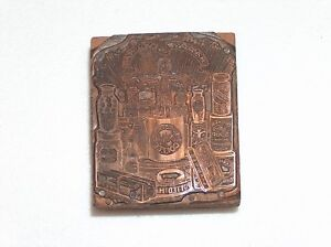 Antique Happy New Year Print Block Kitchen Goods Potted Ham Pig Coffee Soup